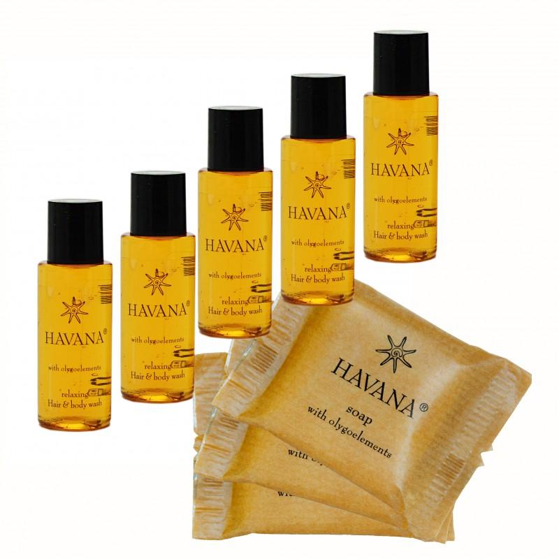 Zestaw Kosmetyczny dla Hoteli Havana szampon-żel 30ml 100szt + mydło 15g 100szt