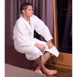 pościel hotelowa - Szlafrok hotelowy biały Sapporo 100% bawełna
