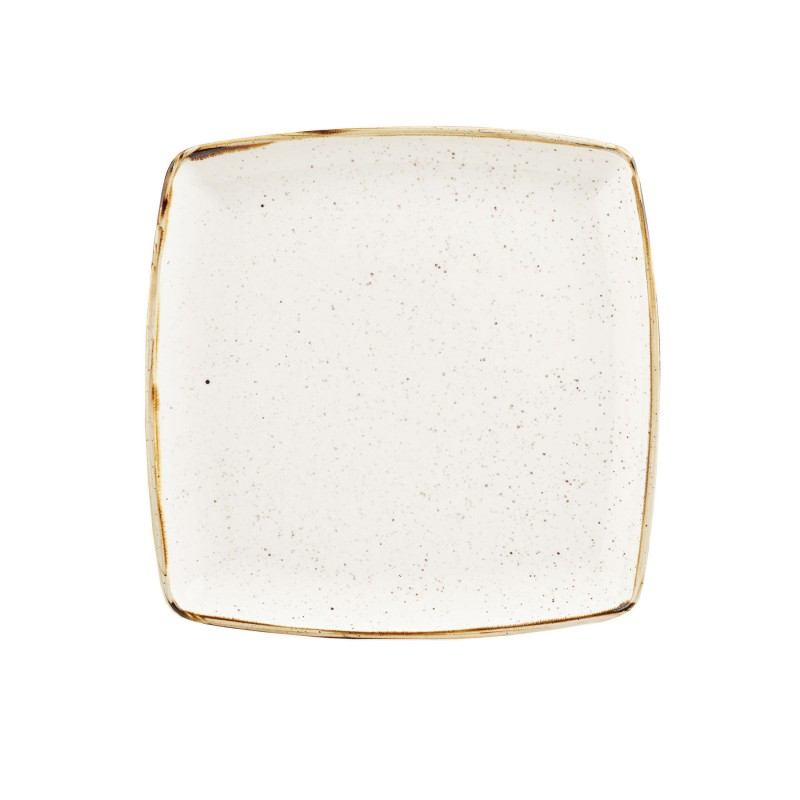 Talerz porcelanowy kwadratowy 26,8 cm Evolve STONECAST BARLEY WHITE
