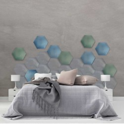 Panel tapicerowany sześciokąt , do własnego montażu, 3D różne kolory