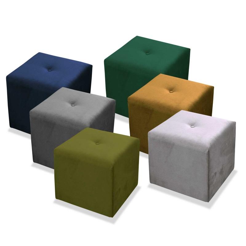 Pufa ozdobna, kwadratowa, tapicerowana